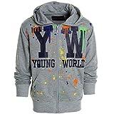 Kinder Pullover Kapuzenpullover Hoodie Jacke Sweatshirt Kapuzen Sweatjacke 20438, Farbe:Grau;Größe:128