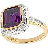 Naava 9ct Yellow Gold Ladies Diamond and Cubic Zirconia Amethyst Ring