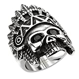 Mianova Herren Ring Edelstahl Massiv Breit Herrenring Männer Biker Rocker Schmuck Apache Indianer Totenkopf schwarze Augen Silber Schwarz Größe 69 (22.0)