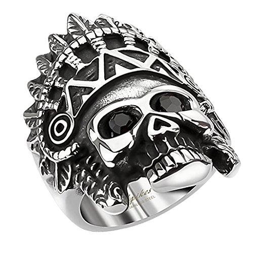 Mianova Herren Ring Edelstahl Massiv Breit Herrenring Männer Biker Rocker Schmuck Apache Totenkopf schwarze Augen Silber Schwarz Größe 61 (19.4)