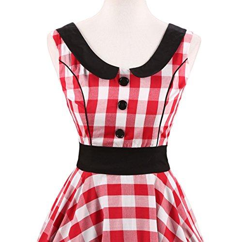 VKStar® Retro Kleider Damen 50er 60er Vintage Gestreift Kleider sommer ärmellos Rockabilly mit Knöpfe Kariert Abendkleid Rot-Weiß