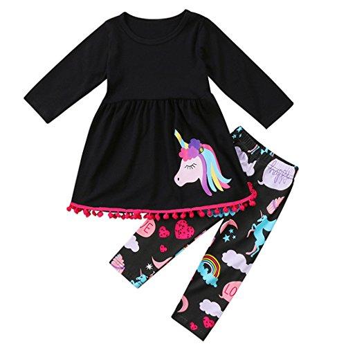 MIOIM Mädchen Einhorn Kleidung Set Langarm T-shirt Kleid + Lang Hose Baby Kinder Girl Tops + Hosen Schwarz 2-7 Jahre (Baby-kleid-mantel)