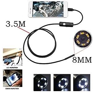 microcamaras precios: SSCJ Cámara de inspección con endoscopio USB, 8 mm Endoscopio 5M Tubo Impermeabl...