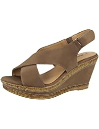 abbbeb98895 Ladies Cushion Walk Wide E Fit Leather Lined Wedge Peep Toe Strappy Summer  Sandal Size 3