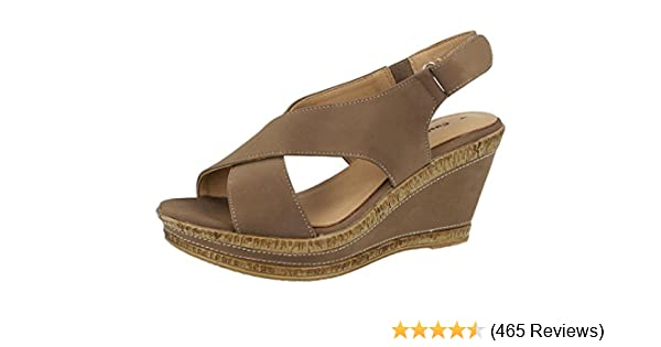 5ef1540c3102e Ladies Cushion Walk Wide E Fit Leather Lined Wedge Peep Toe Strappy Summer  Sandal Size 3-8
