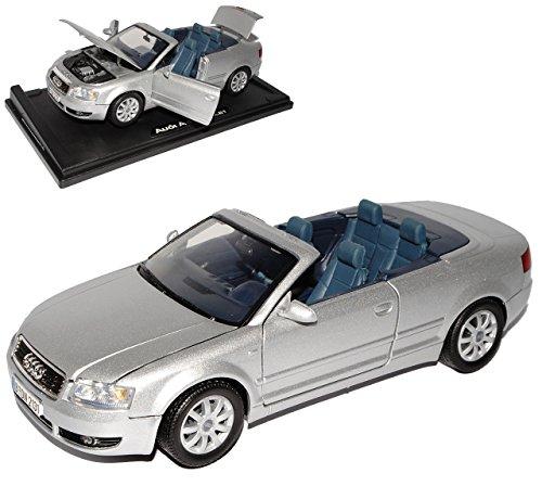 Preisvergleich Produktbild Audi A4 B6 Cabrio Silber 2002-2006 1/18 Motormax Modell Auto mit individiuellem Wunschkennzeichen