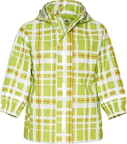 Playshoes Baby - Mädchen Regenbekleidung 408651 Trendige Regenjacke Karo, mit Reflektoren, Oeko-Tex Standard 100, Gr. 80, Grün (grün)