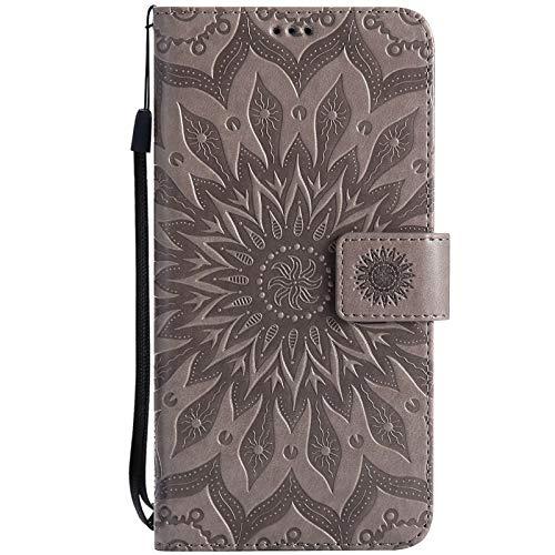 Hancda Hülle für Samsung Galaxy S20 Ultra, Handyhülle Leder Hülle Flip Case Klapphülle Handytasche Lederhülle Brieftasche Etui Dünn Silikon Cover Magnet Tasche für Galaxy S20 Ultra,Blumen Grau