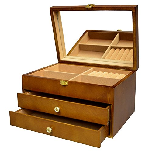 Gran-Joyero-de-madera-marrn-caja-Lift-up-tapa-con-espejo-grande-y-tire-cajones-nuevo