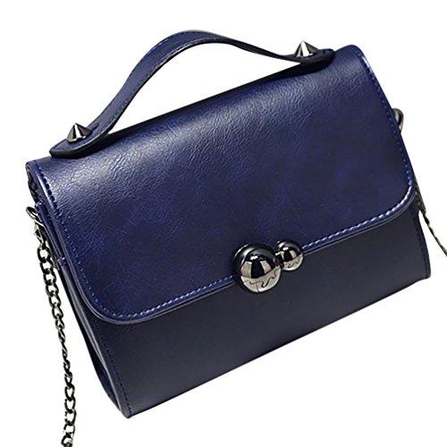 YiJee Femmes Petit Sac À Main Epaule Bouton Magnétique Petit Sac en Faux Cuir Sombre Bleu