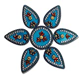 SBD Handmade Elegantly Designed Blue Rangoli - With Round Shaped Base And Petal Shape Design Decorated With Multicolored Stones - 7 Pieces