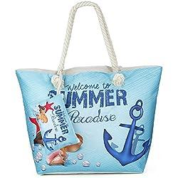 Bolsa de Playa de Lona, ZWOOS Impermeable Mujer Grande Bolso de Mano Shopper Bolsa con Cremallera (Ancla)