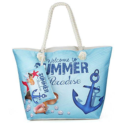 Sac de Plage Vacances Fourre-Tout Grand Avec Zip, ZWOOS Pochette sac à Main Sac de Shopping Pour Femme et Filles