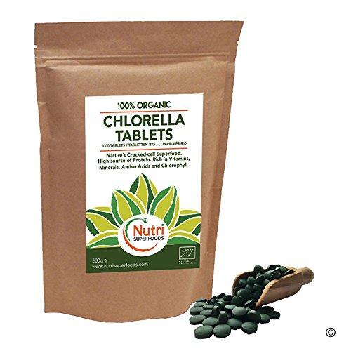 CHLORELLE BIO COMPRIMÉS 1000 x 500mg - Riches en Chlorophylle, Protéines et Fer - Complément Détox - Chlorella à Paroi Cellulaire Cassée (500g)