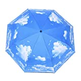 Owfeel Parasol Umbrella Sunblock UV(Ultraviolet) Block Protection Folding Compact Lightweight Umbrella Blue Sky