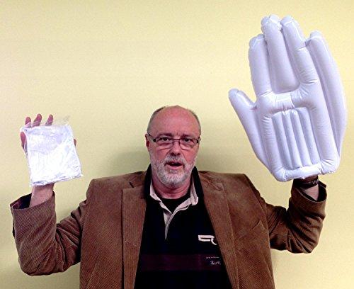 XXL Hand aufblasbar, weiß (10er Pack), Fan, Riesenhand, Spaßartikel, Festival (weiß) (Frauen-fußball-liga)