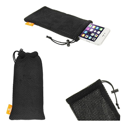 DFV mobile - Universal Nylon Mesh Pouch Bag with Chain and Loop Closure for => VERYKOOL Eclipse SL5200 > Black