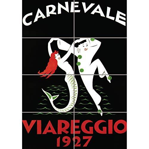 xhibition Viareggio Carnival Mermaid Clown Italy Vintage Wand Kunst Multi Panel Poster drucken 33x47 inches ()