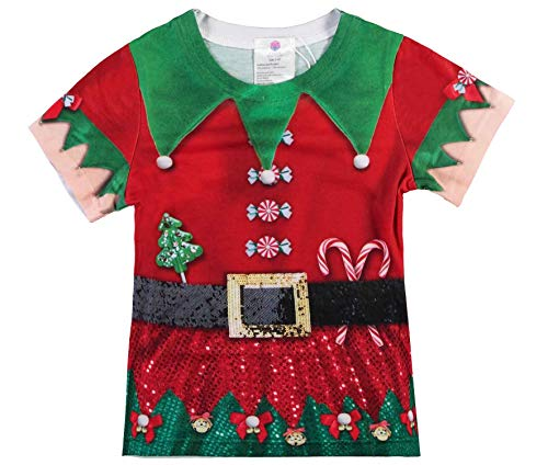 Santa's Elfen Kostüm - Kaufhaus Stolz Kinder Karneval Fasching T-Shirt Elfen | Santa Kostüm | Weihnachten X-Mas Elfenkostüm | Kinder Weihnachtsmann Kostüm 140 Elf Mädchen
