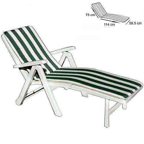 takestop Kissen Streifen grün Creme Kinderbett Tenerife 114x 75x 58.5cm Ausschnitt Abdeckung Sitz Sonnenliege Garten Pool Meer Made Italy -