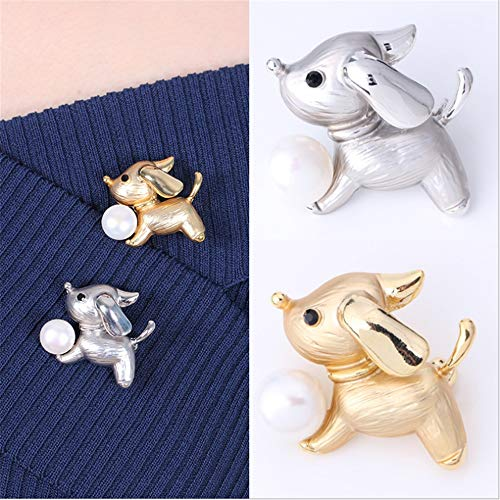 Zhongsufei Packung 2 Stücke Nette Hunde Broschen Für Frauen Mit Perle Brosche Pins Hochzeit Broschen Bouquet Kit Mit Geschenkbox