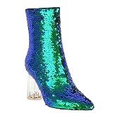 Mee Shoes Damen Reißverschluss Pailletten Bunt Stiefel (41 EU, Silber)