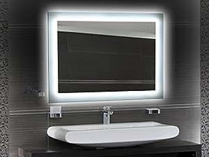 bilderdepot24 beleuchteter led spiegel badspiegel wandspiegel mit beleuchtung 70x50 cm o led. Black Bedroom Furniture Sets. Home Design Ideas