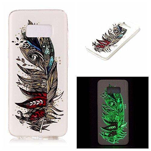 Ecoway IMD Funda para Samsung Galaxy S8 Plus,TPU case Antideslizante Suave Parachoques Resistente a los arañazos Contraportada Noctilucent Funda de silicona Parachoques Carcasa Funda Bumper - Plumas