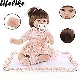 LCLrute Baby-Puppe Weich Simulation Silikon Vinyl 22 Zoll 55 cm magnetisch Mund lebensechte Boy Girl Mädchen Spielzeug Rosa Blume Kopfschmuck