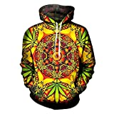 Pokem&Hent 3D Print psychedelische Weed Green Leaf Sweatshirt Hoodies Pullover Psychedelic Weed L