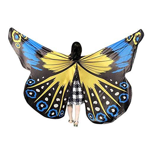 WOZOW Damen Schmetterling Schmetterlingsflügel Kostüm Karneval Fasching Faschingkostüme Poncho Schal Tuch Umhang für Party Cosplay (Orange Gelb)