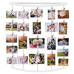 EasternStar Fotorahmen Collage, Bilderrahmen aus lackiertem Holz mit 32 Clips für Fotos Drucke Kunstwerke Karten Memos(White)