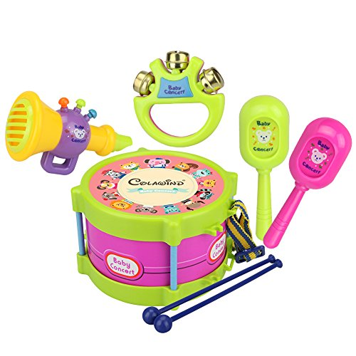 Spielzeug-Musikinstrumente-Set, mit Trommel, Schellenkranz, Trompete, Cabasa, 5-teilig (Toy Musical Instrument Set)