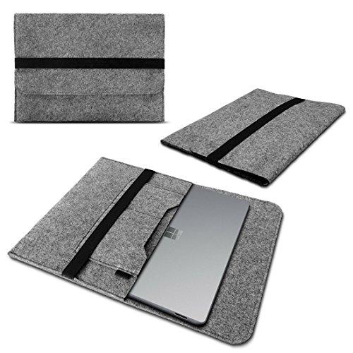 Laptop Tasche Sleeve Hülle für Microsoft Surface Book 2 13,5 Zoll Notebook Netbook Ultrabook Case aus strapazierfähigem Filz in Grau mit praktischen Innentaschen