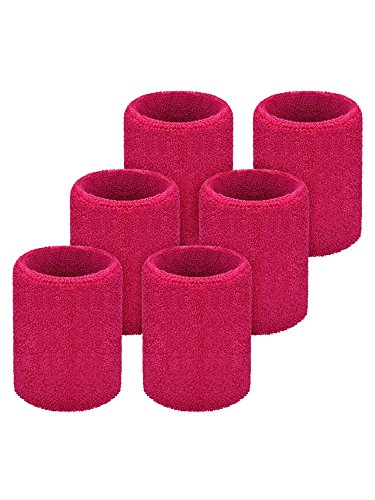 Willbond 6 Pack Wrist Sweatbands Sports Wristbands for Football Basketball, Running Athletic Sports (Rose Red)