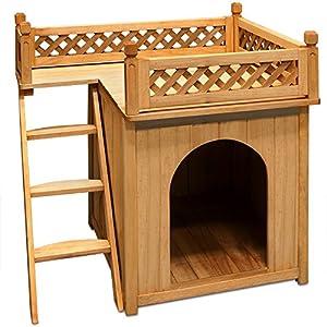 Niche villa pour chiens et/ou chats en bois avec terrasse - brun - 66x53x64cm