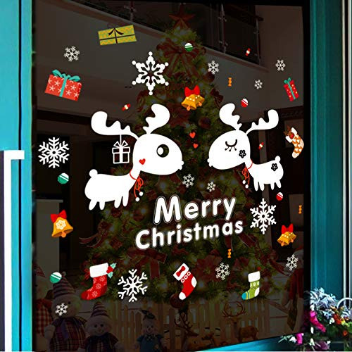 Stilvoller Weihnachten Glastür Hirsch Aufkleber Neujahr Chinese New Year Shopping Mall Dekoration Wandaufkleber Cafe Kleidung Schaufenster Aufkleber