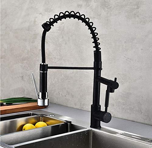 Doppelgriff Pull-Down-Spüle schwarzer Wasserhahn, Küchenfeder Pull-Down-Messinghahn mit Sprüher, Heiß- und Kaltwassermischer - Pull-down-spüle
