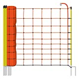 Voss.farming Rete per recinzioni da pascolo elettrificabili, altezza 108 cm e 50 m di lunghezza, a punta doppia, 14 pali gialli