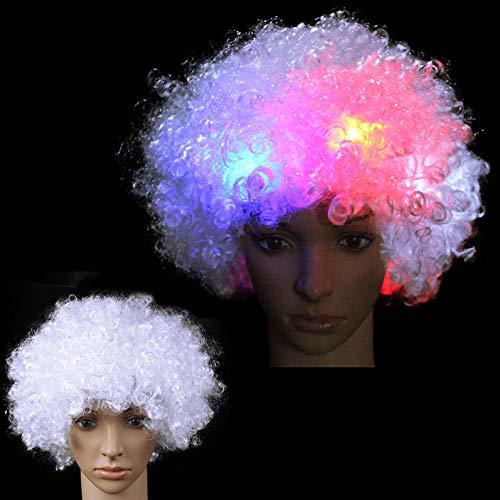 axusndas LED-Perücke, Bunte Perücke, leuchtende Hut, Clownperücke, LED-Perücke -