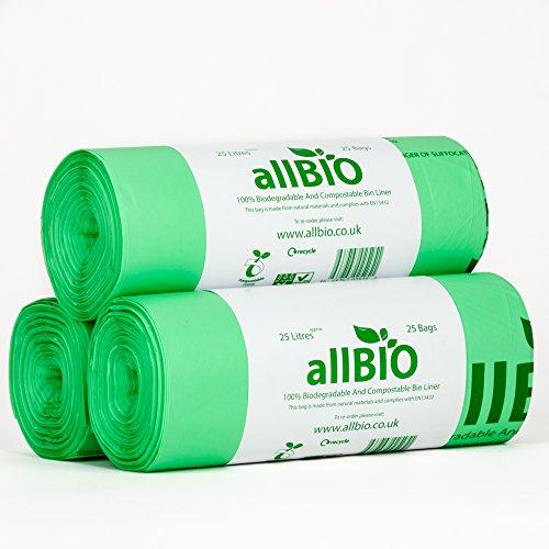 25 litri x 75 sacchetti allbio sacchetti pattumiera organico 100% biodegradabili e compostabili 25 litri / sacchetti contenitore rifiuti