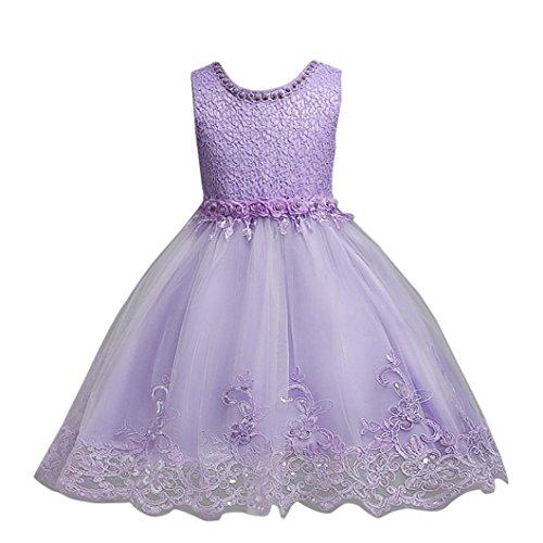 tliche Kinderkleider Longra Mädchen Lange Kleid Spitzenkleid mit Blumen Kinder Prinzessin Kostüm Tutu Kleid Brautjungfern Hochzeitskleider Partykleid (Purple, 110CM 4Jahre) (Kinder Outfit Für Die Hochzeit)
