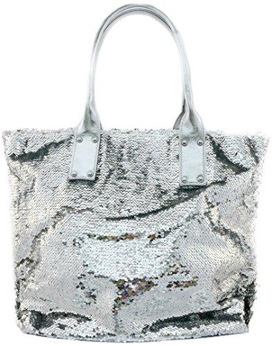 Tom & Eva Pailletten Strandtasche XL Ibiza Handtasche Damen Shopper Glitzer in Silber Schimmer (Über Schimmer)