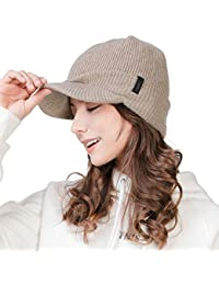 FancetHat Unisex Wool Visor Cuff Peaked Beanie Ribbed Knitted Newsboy Cap  Double Layer Winter Warm Ski 1ab36af4b503