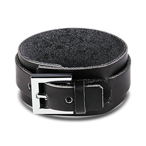 Beydodo Edelstahl Charm Armbänder für Herren Breit Leder Punk Rock Schwarz 22x3CM