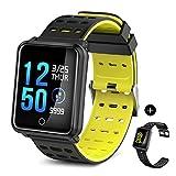 TECKEPIC Fitness Armband, Aktivitäts-Tracker Modell N88 mit Farbbildschirm, Herzfrequenzsensor, Schlafmonitor, Kalorienzähler, Sportmodus (Schwarz gelb+freies schwarzes Band)