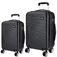 KONO 2 pcs parallel lines Travel Bag Trolleys PC Hard Shell Hand Luggage 4 wheels cabin suitcase 20'' and 28' (6676 black 20