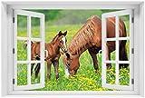 Wallario selbstklebendes Poster - Pferde auf der Koppel in Premiumqualität, Größe: 61 x 91,5 cm (Maxiposter)