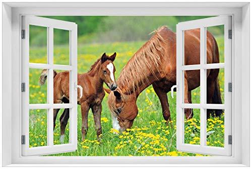 (Wallario Poster - Pferde auf der Koppel in Premiumqualität, Größe: 61 x 91,5 cm (Maxiposter))