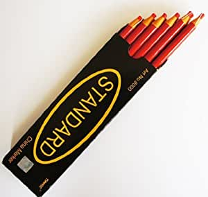 12 Non-Sharpening Wax China Marker Pencil, Red Colour 17cm